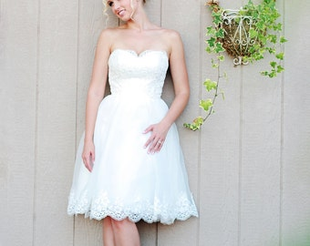 Camille - Short Wedding Dress, Organza an Lace , Reception Dress