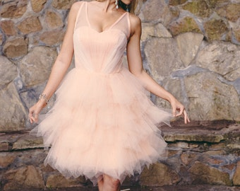 Carrie -  Short Wedding Dress, Repception Dress, Garden Wedding, Peach, Pink Wedding Dress