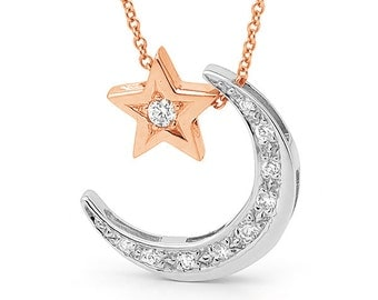 Rose gold and white gold diamond crescent moon Necklace, rose gold and white gold diamond pendants, star and moon necklace