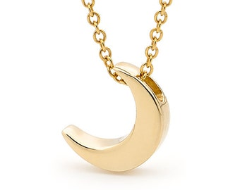 Yellow Gold small CRESCENT MOON Necklace, 9k or 14k Yellow Gold crescent moon pendant, Crescent moon charm