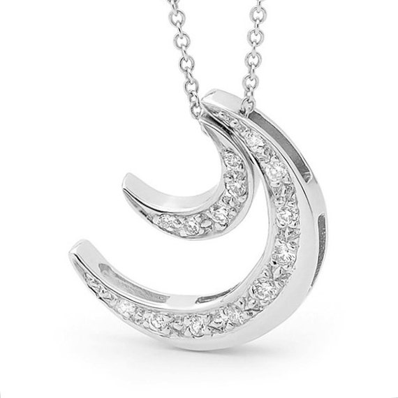 Diamond and white gold 2 Moons Necklace, White Gold and Diamond moon Pendants, double crescent moon necklace