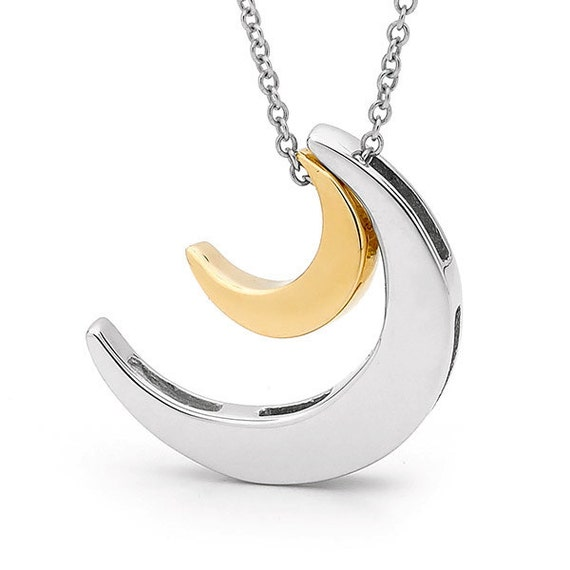 2 moons necklace yellow gold and sterling silver by