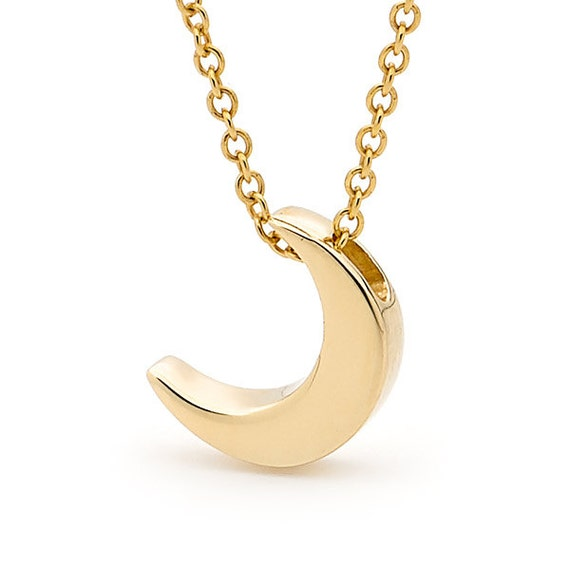 Yellow Gold small Crescent Moon Necklace 9k or 14k Yellow