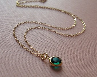 Emerald Necklace in Gold -Gold Emerald Necklace -May Birthstone Necklace
