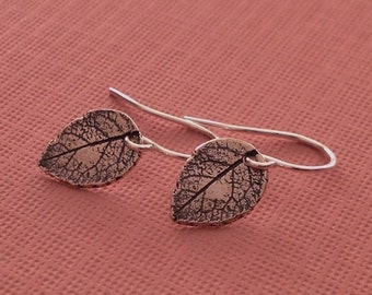 Leaf Earrings in Sterling Silver -Silver Leaf Earrings -Leaf Earrings
