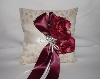 Burgundy Wine Wedding Ring Pillow /Lace Ring Bearer Pillow / Champagne Lace Ring Cushion/ Wine n Roses OOAK Bridal Ring Pillow