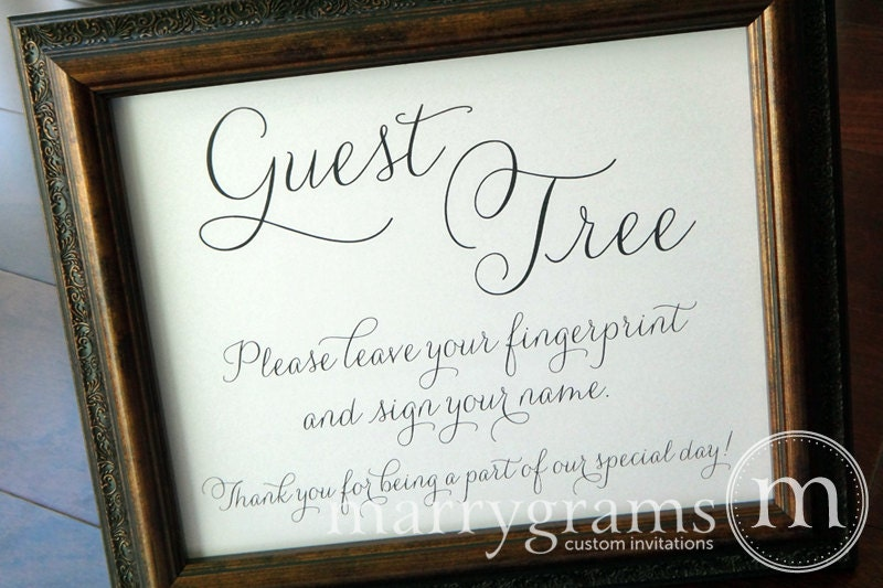 Wedding Gift Table Sign Wording : Alternative Guest Book Table Sign Fingerprint Guest Tree
