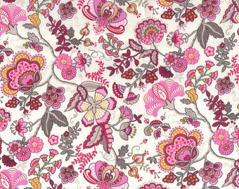 Fat eighth Liberty of London 'Mabelle D', bright pink and yellow traditional floral Liberty print