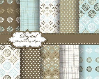 Blue, White and Brown Flower Digital Papers for scrapbooking, card making, Invites, photo cards (P171)