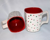 Holiday Coffee Mugs, Two Christmas Mugs, White with Red and Green Dots, Pair of  Ceramic Cups - NorthernTraders