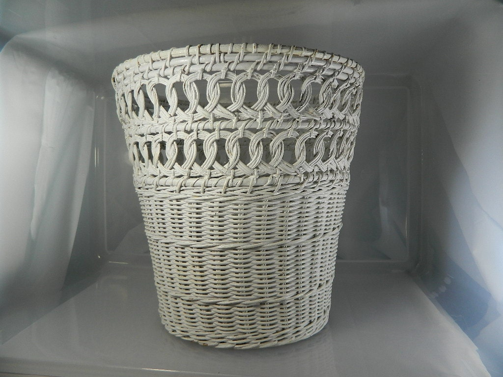 Reserve for jackie vintage wicker basket white wicker waste - Wicker trash basket ...