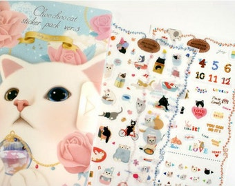 Deco Sticker Set - Choo Choo Cat Sticker Pack Ver. 3 - Diary Deco Sticker - 8 sheets