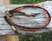 Clearance/Carnelian and Leather Bracelet