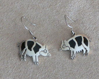 sterling silver piggy earrings