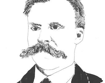 Illustrated Nietzsche Screen Print Portrait T Shirt