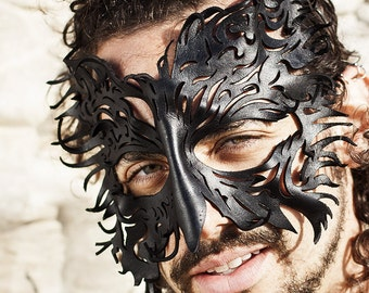 CUSTOM Made to Order | Leather Filigree Crow Mask | Black Bird | Raven | Costume | Handmade | Lightweight | OSFA | Feathery Leathery | Bird