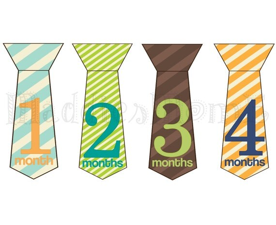 Monthly Baby Boy Tie Stickers Baby Month Stickers Monthly Bodysuit Sticker, Monthly Stickers (Luke)