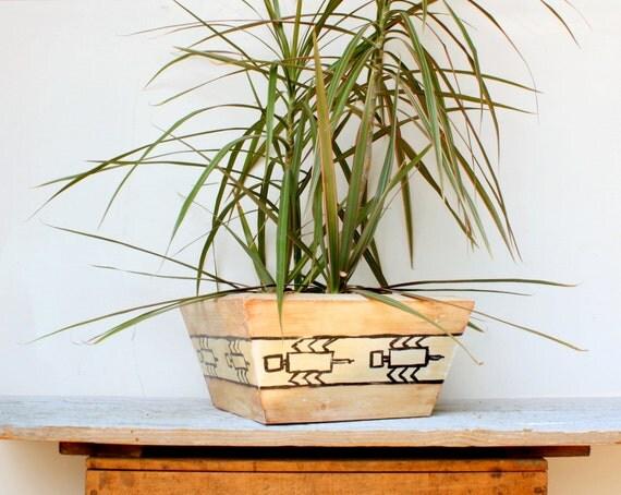 Wooden Cedar Planter Box - Handpainted Folk Art Tribal Spiders or Scorpions