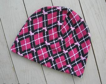 Argyle Hearts Beanie Hat Infant Thru Adult