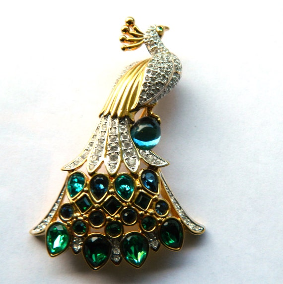 RESERVED - Swarovski Peacock Brooch - Signed with Swan Logo