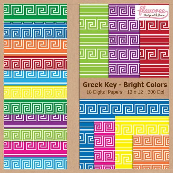 Digital Scrapbook Paper Pack - GREEK KEY PATTERN - Bright colors - Instant Do...