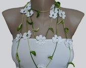 Green and White Crochet Lariat Scarf Necklace, Crochet Flower Necklace, Strand necklace, Eco friendly, Bracelet,  Woma