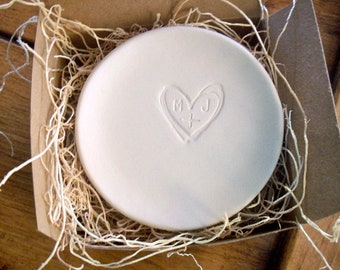 engagement ring dish,  wedding ring holder, You Plus Me initial tray, White Matte Glaze, Made to Order