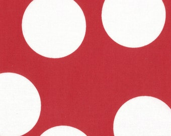 Red and White Large Polka Dot Patterned Fabric - Half Moon Modern by Moda 1/2 Yard