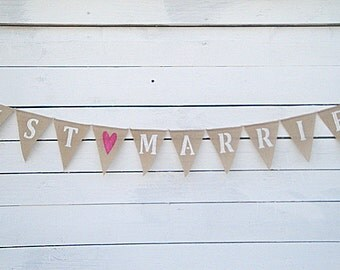 Just Married burlap banner with fuchsia pink glittered heart