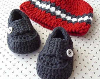 Crochet Baby Hat, Baby Boy Booties, Boy Baby Hat, Baby Loafers, Crochet Baby Beanie, Crochet Baby Shoes, 3 to 6 Months