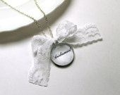 Personalized Bridesmaids Gifts Lace Necklace, Will You Be My Bridesmaid Jewelry, Bridal Shower Favors, Vintage-Style Bridal Party Gifts