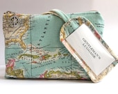 Vintage Map Travel Set Personalized Groomsmen Gift, Journey Honeymoon Cosmetic Bag & Luggage Tag, Destination Wedding Groom Gifts, Explorer