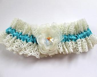 Swarovski Snowflake Winter Wedding Lace Garter, Couture Aqua Blue Bridal Garter, Ivory Flower Bride Garter, Something Blue Bride Gift