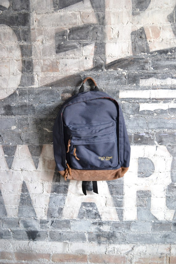 Vintage Blue Canvas Backpack with Leather Bottom by Duck Head