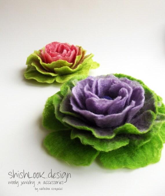 SALE -Hand Felted Flower Brooch, Wool Felt Jewelry ,Felted Flower, Soft lilac & Lime