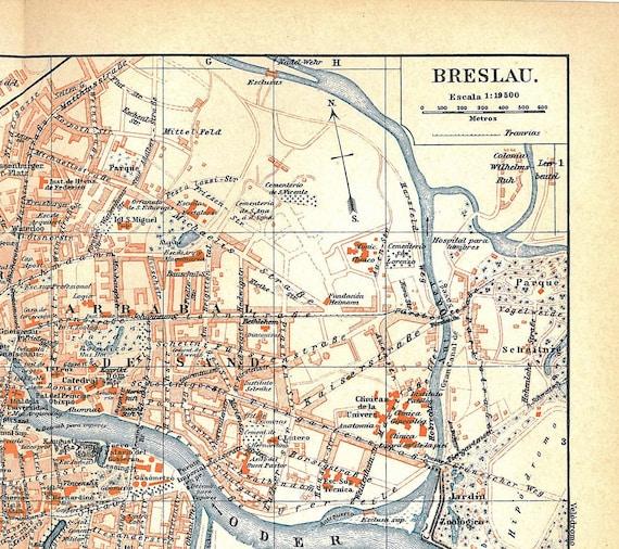 Breslau  Wroclaw  City Plan Vintage Map Poland 1920s