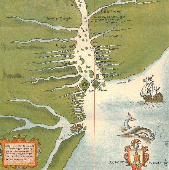 Amazon River Vintage Map 1920s  Antique Long Map Discovery of the Amazon River