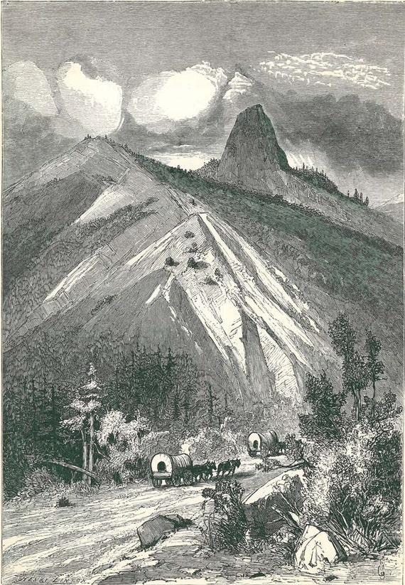 1895  Antique Print California Pilot Knob,  Illustration by  Swain Gifford, Picturesque America