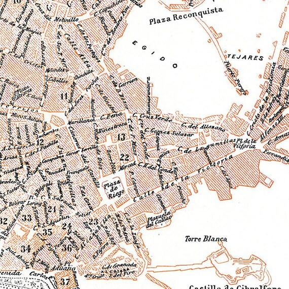 Malaga Vintage City Plan Street Map 1920s Spain