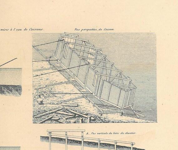 1872 Cofferdams Antique Technical  Drawing  Civil Engineering
