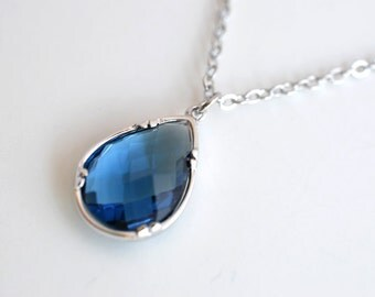 Sapphire necklace, CZ necklace, Glass necklace, Pendant necklace, Crystal necklace,Delicate necklace,Christmas gift,Valentines gift