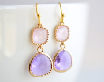 30% SALE, Rose quarts and Lilac earrings, Gold Earrings, Wedding jewelry, Bridal earrings, Bridesmaid earrings, Clip earrings,Glass earrings