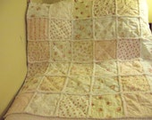 Rag Quilt Baby Roses Cottage Chic Shabby Crib Secuirty R5