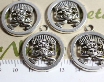 4 pcs per pack 30mm Mayan Glyph Charm Antique Silver Finish Lead Free Pewter