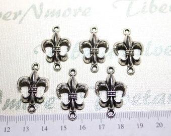 10 pcs per pack 28x18mm Fleur De Lis Link Antique Silver Finish Lead Free Pewter