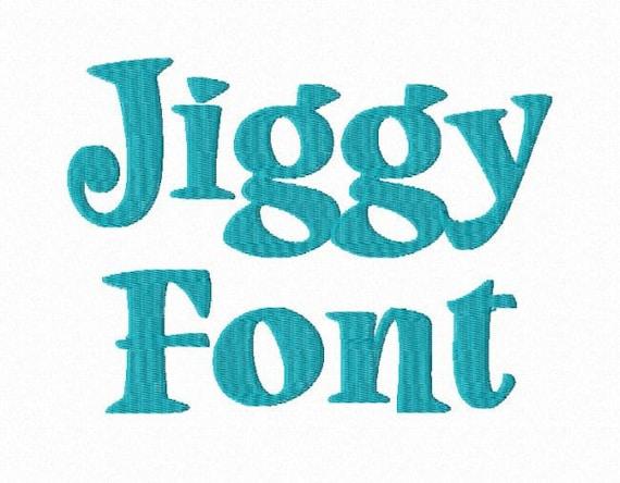 jiggy machine embroidery font monogram alphabet 3 sizes