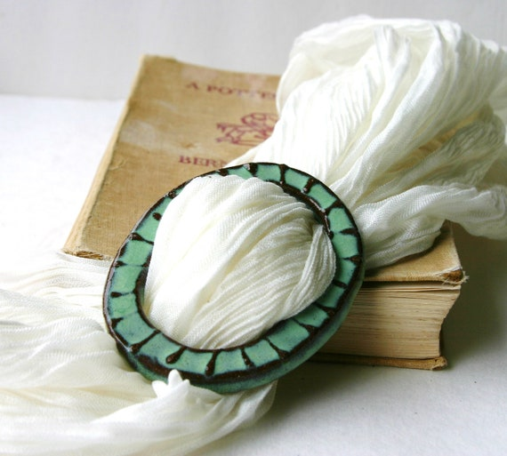 Ceramic Scarf Buckle Clip - Vintage Inspired - Rustic Aqua Blue Green - Ready to Ship