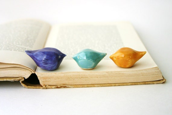 Porcelain Birds - Set of 3 Handmade Sculptures - Bookshelf Home Decor - OOAK Blue Purple & Gold - Made to Order