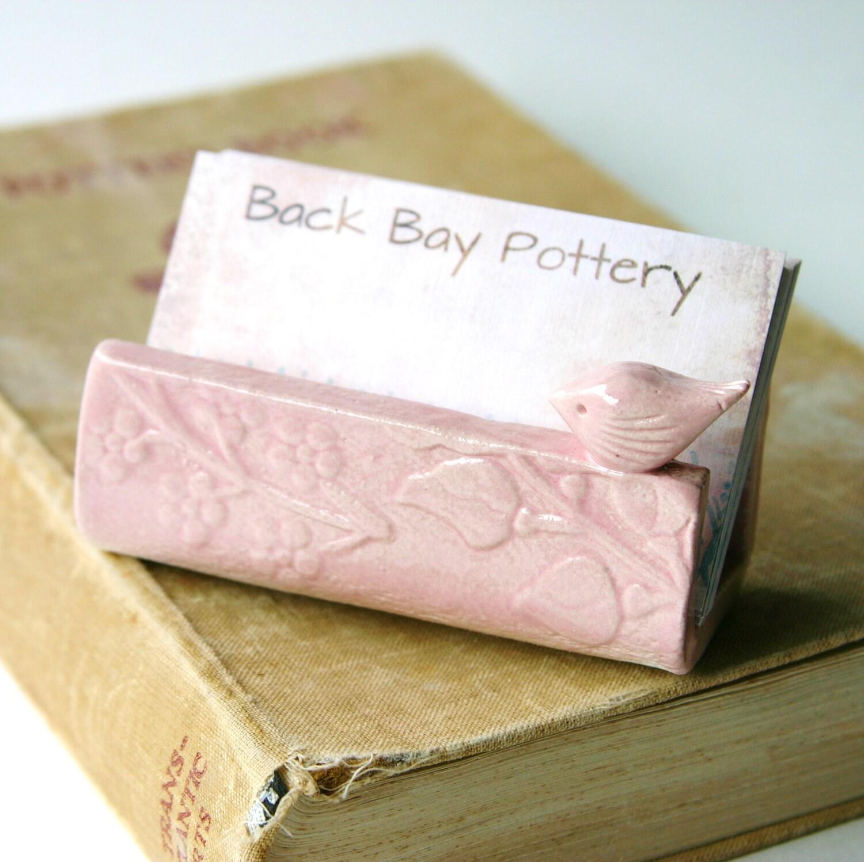 Garden bird ceramic business card holder shabby chic pink for Ceramic business card holder