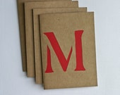 Personalized Stationery with Papercut Monogram in Red